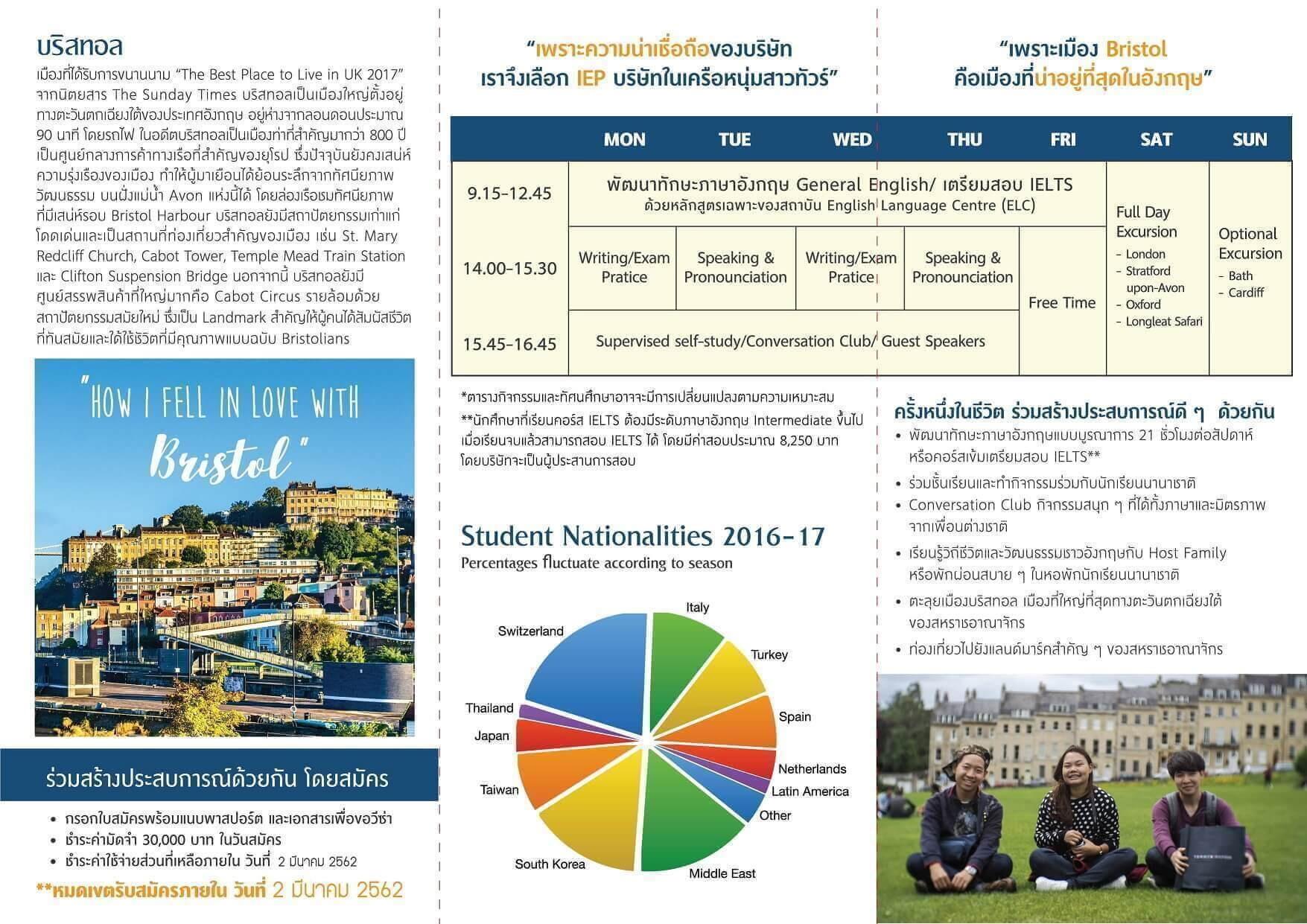 English Language Centre-Schedule of ELC Bristol English Summer Camp April 2019 in UK